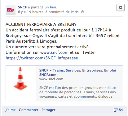 Analyse de la communication de crise de Bretigny