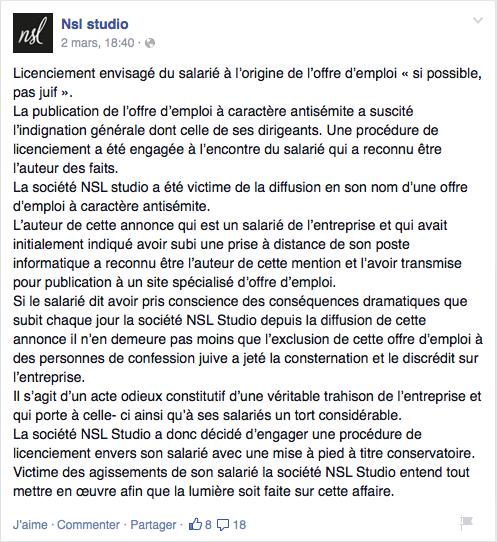NSL Studio Licenciement