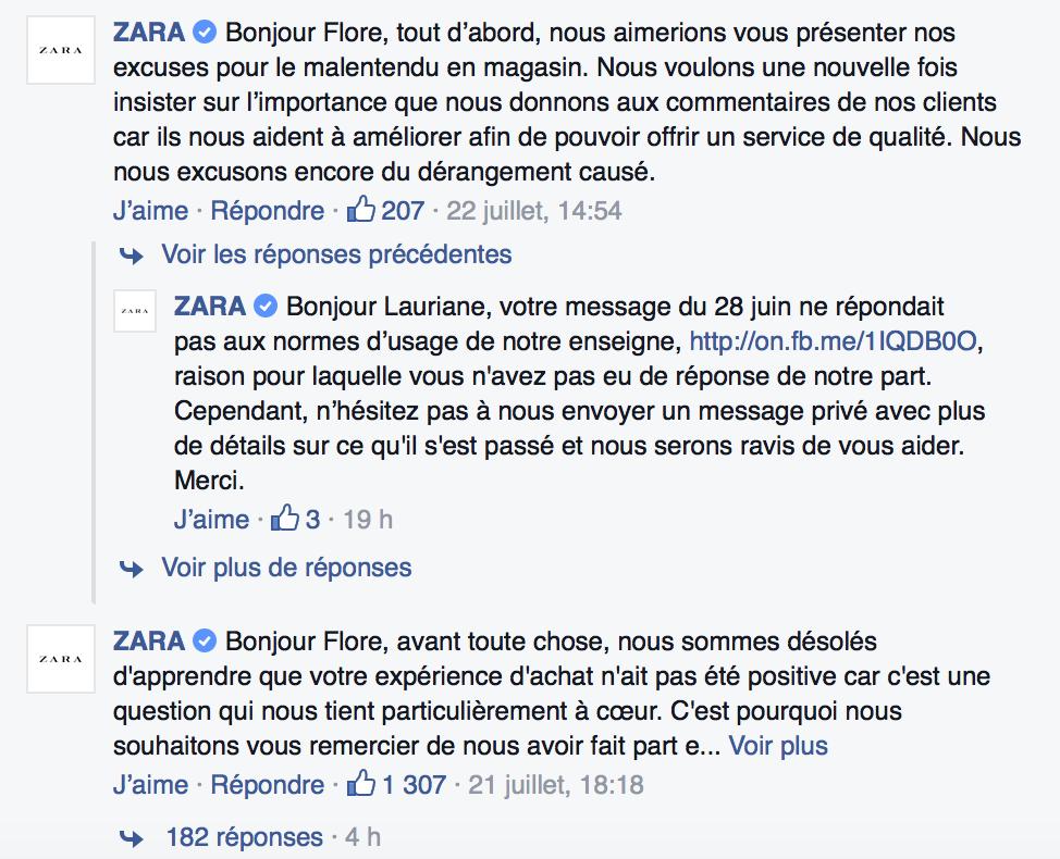 Réponse du community manager de Zara